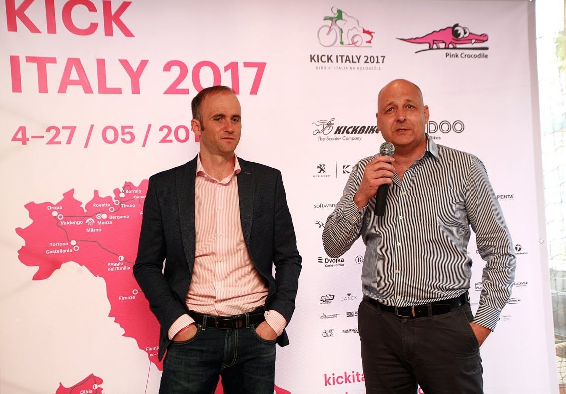 Dan Pilát Founder of Yedoo introduced the project Kick Crocodile at a press conference dedicated to Giro on scooters