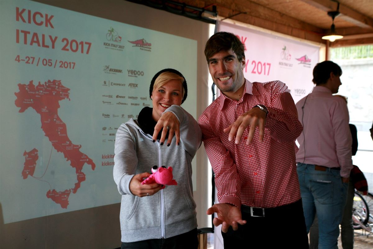 Dagmar Herrmannová, The Pink Crocodile School headmaster together with the Kick Crocodile ambassador and the Olympic Games champion David Svoboda