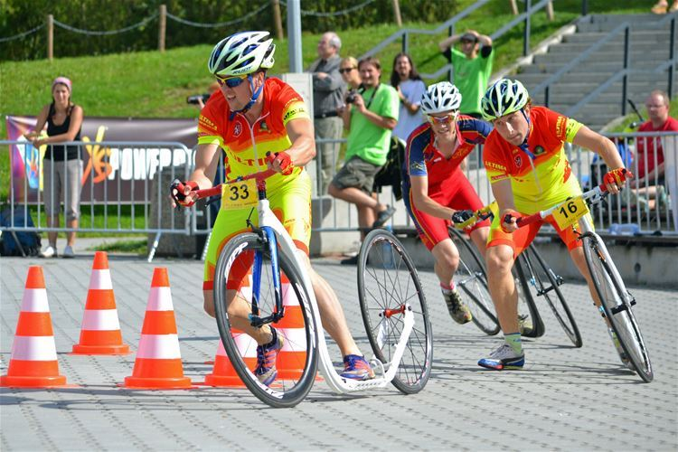 The route of the sprint race ran through the centre of Pilsner. Michal Kulka with number 33 on the photo.