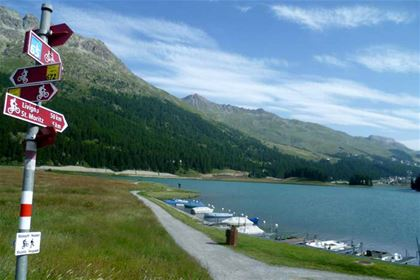 A small lake nearby St. Moritz, world-famous ski resort in the Swiss Alps