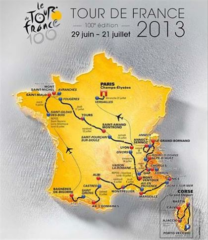 Map of the route of the jubilee Tour de France 2013 cycle race