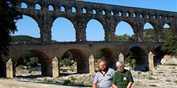 Stand on the way to Narbonne by the Pont du Gard aqueduct built in the period of the ancient Roman civilization.