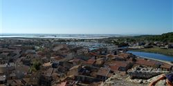 View of the sea and the town of Gruissan from the old Barberousse fort