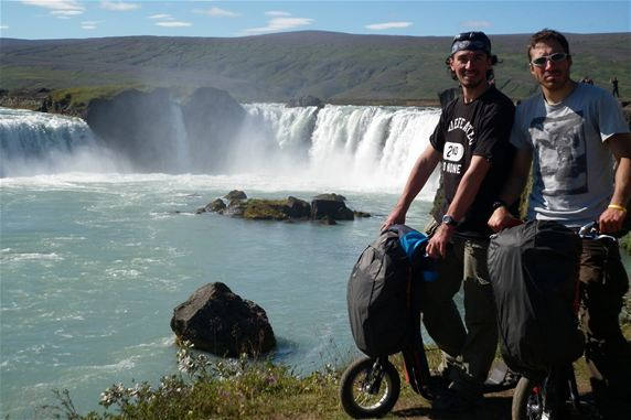 David Ceccarelli (on the left) and Andrea Gesmundo in front of one of the most spectacular Icelandic waterfall, Godafoss (the fall of Gods).