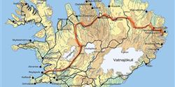 The map of Iceland with the marked track of the expedition. In order to travel the distance of 800 km in the originally planned 16 days, they rode at least 9 hours per day.