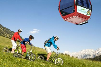 A cable car will comfortably transport you to the top and you whizz down on scooter.