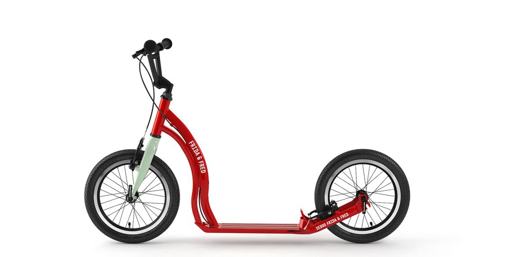 An aluminium scooter for city schoolers in Cream Red