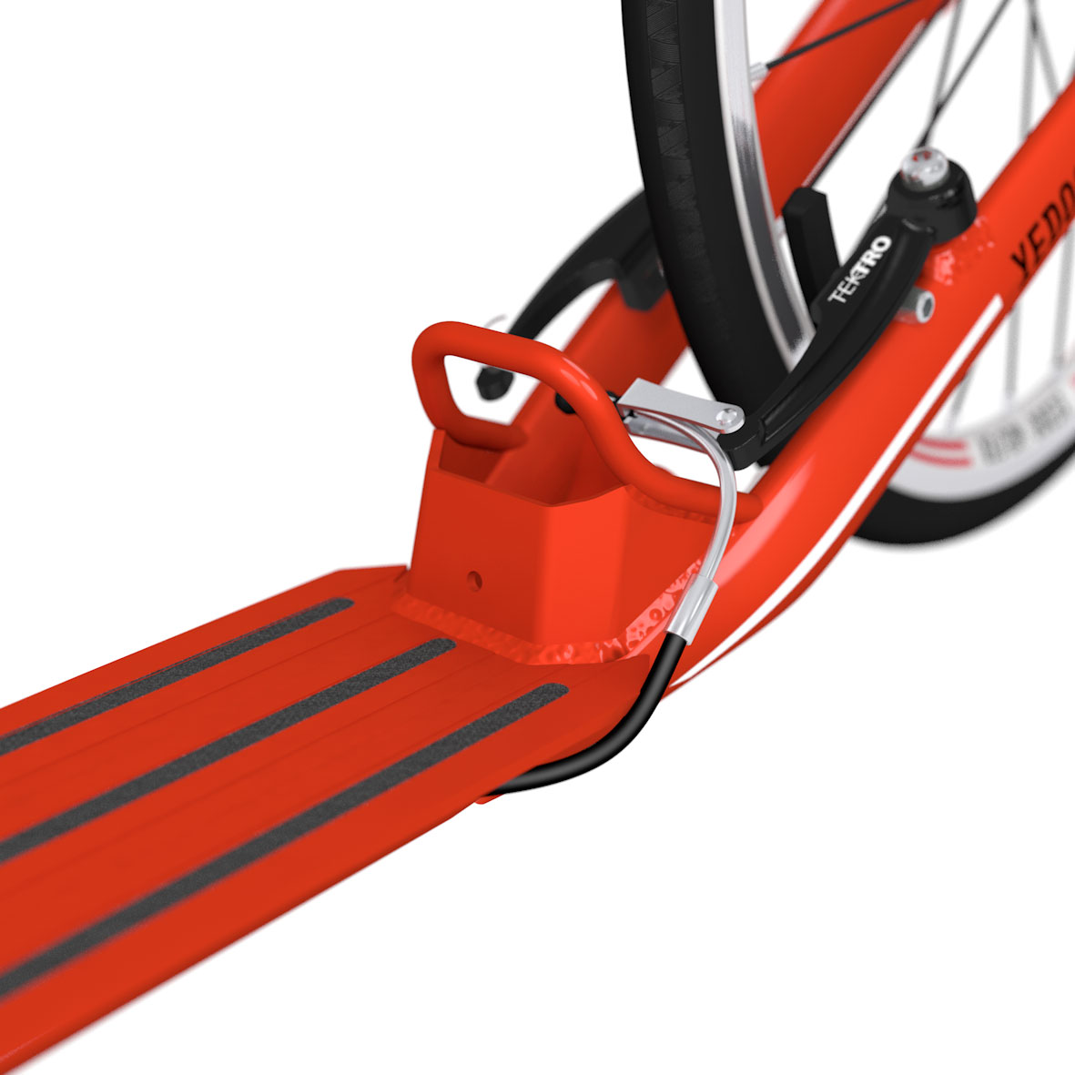 Adhesive anti-slip tapes, practical dropout, narrowed rear fork and bowden cable guided inside the frame.