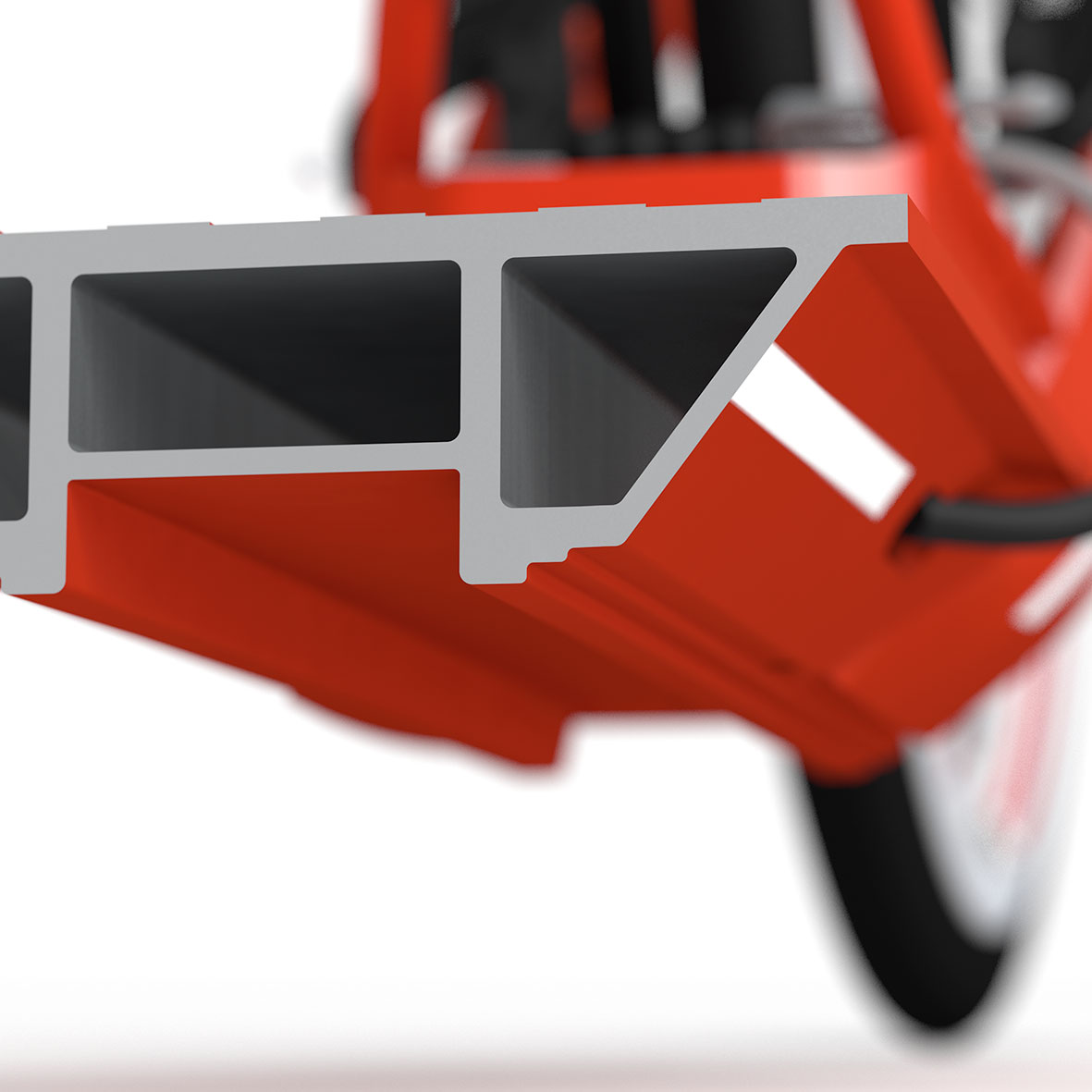 The sophisticated footboard shape minimizes scooter-terrain interface and allows for a safe tilt round bends.